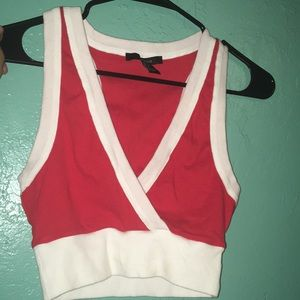 Red and white crossed tank